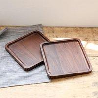 Черный орех деревянный квадратный лоток фрукты закуски хлебные плиты экологически чистые пищевые блюда тарелка завтрак чайное молоко