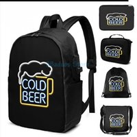 مضحك جرافيك طباعة الباردة البيرة النيون تسجيل USB تهمة حقيبة الرجال الحقائب المدرسية المرأة حقيبة السفر المحمول