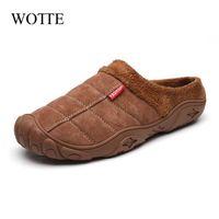WOTTE тапочки Дом мужская зимняя обувь мягкий мужчина домашние тапочки хлопчатобумажные ботинки флис теплые антискользящие мужские тапочки высокое качество 210325