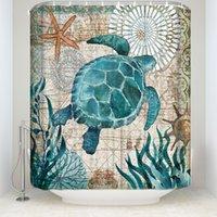 بيولوجية موضوع البيولوجية دش الستائر الحمام ديكور البحر السلاحف الحوت الأخطبوط النفايات المحيط الحياة للماء البوليستر قابل للغسل حمام الستار
