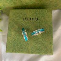 Nuevo anillo de esmalte entrelazado de doble g vintage para hombres y mujeres