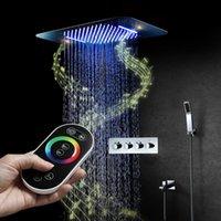 Bluetooth Music LED Pommeau de douche Tap Tap Rain Région à la cascade Robinet de salle de bain Robinet Thermostatique Système de haut-parleur Mélangeur dissimulé