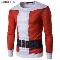 Поддельные две части 3D Print Men T футболки Санта-Клаус с длинным рукавом Slim Fit Mens T рубашки Рождественские костюма TEE рубашка Homme 2XL