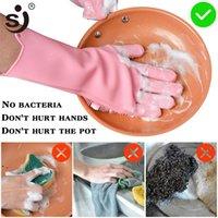 Волшебные силиконовые блюдо стиральные перчатки кухонные аксессуары для мытья посуды перчатка бытовые инструменты для уборки автомобиля Pet Щетка OWD9008
