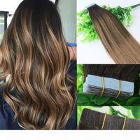Омбре наращивание волос GLUEST 2 # 6 # Лента в наращиваниях человеческих волос 40 шт. 10Грм Бразильская девственница Balayage Tark Brown Highlight Weft