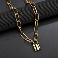 Rock Choker Lock Necklace Layered Chain On The Neck With Punk Jewelry Padlock Pendant Necklaces For Women Nameplate Gift Chains
