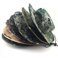 Наружные шапки мужчины женщины спортивные буши промытые хлопчатобумажные из ткани для подбородка на подборок военный камуфляж охотничий шляпа путешествие солнечное крышка ведро стиль рыбака