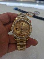 Con caja original reloj de moda de lujo de lujo de calidad superior 18k dial de oro amarillo bisel 18038 reloj de reloj de reloj de hombre automático