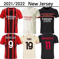 22 22 AC Milan Home Away Terceiro Futebol Jerseys Ibrahimovic Kessie R.Leao Theo Mandzukic Rebic Futebol Camisa Donnarumma Goleiro Jersey Tonali Maglia da Calcio