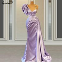 Vestidos de fiesta más Tamaño Lavander Coctel simple Larga Sirena Celebridad Dressess Robas de boda de Medio Oriente