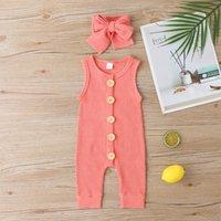 赤ちゃんの純粋な色のジャンプスーツ新生のファッションノースリーブのロンパース子供登山の服の髪の帯が含まれていた23LY J2