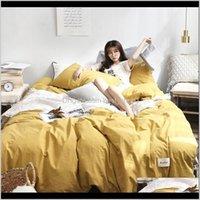 Conjuntos Fornecimentos Têxteis Home Garden Drop entrega 2021 55 Conjunto de cor sólida cama confortável Twin lençóis e fronhas almofadas de algodão