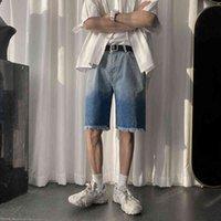 Mens verão laço tintura fashion calças de brim shorts streetwear hip hop denim shorts masculino casual suor calças