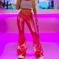 Women's Pants & Capris Weird Puss Faux Leather Flare Y2K Women Fake Two Bandage Hollow Neon Pink Trousers Stretch Casual Wild Streetwear Bot