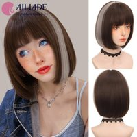 Synthetic Wigs AILIADE Short Straight Gray And Brown With Bangs Cosplay For Women Party Lolita Daily False Hair