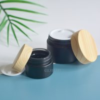 5g 15g 30g 50g Empty Black Frosted Glass Cream Jar Bottles Bamboo Wooden Look Caps Cosmetic Face Makeup Containers Packaging Wholesale Price
