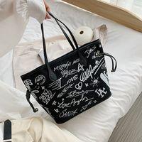 Graffiti Canvas Tote Bag Women's New Letter Printing Slung Large Capacity Fashion Casual One Shoulder Handbag