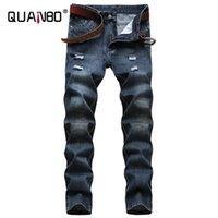 Męskie dżinsy Quanbo Ripped Slim Proste Moto Biker 2021 Jesień Zima Maszyny Moda Osobowość Dżinsowe Spodnie