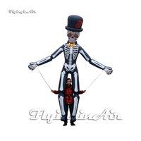 Outdoor Halloween Parade Performance Gonfiabile Scheletro Gonfiabile MAN BURPET 3.5M altezza a piedi Blow up Bianco Skull Ghost Costume Costume per spettacolo di palcoscenico
