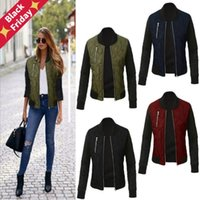 Leosoxs 2021 Autumn Winter Fashion Solid Women Jacket O Neck Zipper Stitching Quilted Bomber Tops Ladies Jacktes Coats Plus Size Women's Jac