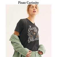 Pirat-Neugier-Weinlese-Grafik-T-Shirt Frauen Sommer Baumwolle Schwarz Weiß Casual T-Shirt 2021 Mode Streetwear Top Tshirt Frauen T-Shirt