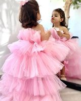 Rose Tulle Princess Dress Puffy Flower Girl Dresses Baby High-Low Kid Brithday First Communion Wedding Party
