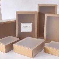 9 Boyutları Kraft Siyah Beyaz Hediye Pencere Paketleme Kutusu Ile Pencere KRAFTS Karton Hediyeler Kağıt Kutuları Kapak Karton 622 R2