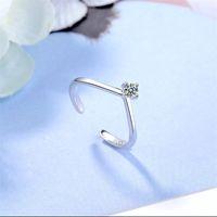 Moda Única Zircão em forma de Abriação Ajustável Ajustável Thin Rings S925 Sterling Prata Simples Casamento Jóias Acessórios Para Amantes 1344 Q2