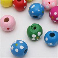 150 pedaços de pontos de cor 10 mm e flores e grânulos de madeira espaçamento de madeira diy brinquedos infantis fazendo pulseira colar 448 T2