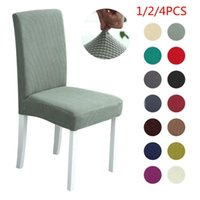 Chair Covers 1 2 4PCS Solid Color Cover Spandex Fleece Thick Stretch Elastic Slipcovers For Dining Room Wedding Banquet