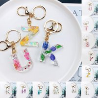 Keychains Dried Flower Letter Initial English Alphabet Keyring Resin Acrylic Glitter Pendant Cute Key Chain Ring Charm Bag Gifts