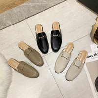 Sandali Caqui Sandálias de Verão Feminino Sapatos Glife Branco Pele Chinelos Mules Preto Mocassini 5 - 10 35-43 Tamanho W54R