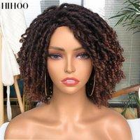 Dreadlock Kıvırcık Peruk 14 Inç Yumuşak Kısa Sentetik Kabarık Karışık Sarışın Kahverengi Peruk Siyah Kadınlar Için Ombre Tığ Twist Saç
