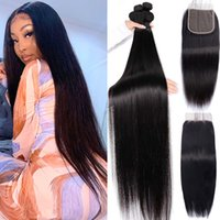 30 Inch Bone Straight Bundles With Closure Brazilian Hair Weave Bundles With Frontal Closure Human Hair Bundles With 4x4 Lace Closure Remy Hair 9A Ylove