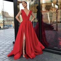 Red Formal Evening Dresses Wear Party Prom Gowns Labourjoisie Middle East Dubai Arabic Satin Deep V-Neck High Side Split Backless