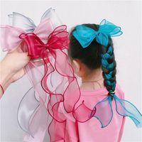 Hair Accessories Cute Long Lace Ribbon Bow Clip For Kids Women Fashion Bowknot Barrettes Hairpins Girls