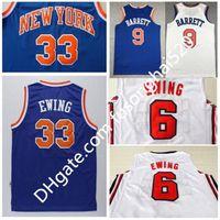 1992 ABD Rüya Takımı Nakış # 6 Patrick Ewing # 33 Patrick Ewing Jersey Mavi Yeni 9 # RJ Barrett Basketbol Gömlek Hafif Nefes Alabilir