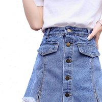 Womens Falda corta Shorts Mujeres Denim Moda Verano Desgaste Faldas Cintura Alta Jeans Botón Femenino S XXL Pantalones Jean