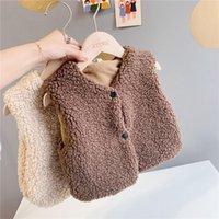 Spring And Autumn Children's Clothing Baby Vests Korean Boys Girls Lamb Wool Plus Velvet Vest Warm Coats Waistcoat