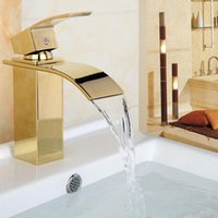 Bathroom Sink Faucets Waterfall Faucet Deck Mounted Brass Vanity Mixer Tap Gold Chrome  Rose Golden Basin