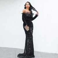 Casual Dresses High Quality Feathers Design Sequined Evening Party Dress Slash Neck Floor Length Night Club Elegant Women