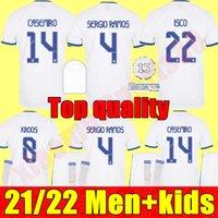 Jerseys de futebol Real Madrid 21 22 Benzema Alaba Hazard Camiseta de Futbol 2021 2022 Kroos Modric Isco Camisa de Futebol Homens Kits Kits Juventude
