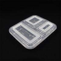Am billigsten !!! US AU Mikrowelle Umweltfreundliche Nahrungsmittelbehälter 3 Fachs Einweg Mittagessen Bento Box Schwarz Mahlzeit Prep 1000ml 653 s2