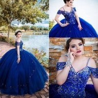 Royal Blue Quinceanera Dresses Sweet 16 Girls Cold Shoulder Beading Cyrstal Princess Prom Graduation Dress For College Formal Evening Gowns Tulle