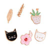Lindo gato broches colorido esmalte pines insignia para ropa colorido dibujos animados broches suculentos planta cactus ja sqcaqw cass2007 452 q2