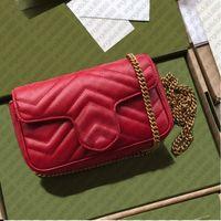 Marmot Bag Designer Handtasche Geldbörsen Brieftasche Super Mini 16.5cm Zig Zag Herzen Ebene Echtes Leder Rindslederketten Geldbörse Umhängetaschen mit Markenkiste Datum Code