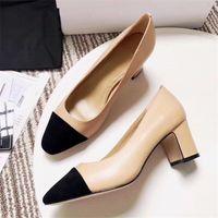 Tacchi alti Patchwork Split Colour Shoes Moda Shoes Shoes Genuine Pelle Aperto su sandali formale di slanggi del tallone grosso