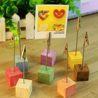 Party Decoration AsyPets 16pcs Colorful Pine Wedding Menu Clip Table Numbers Clasp Po Holder Stand Card Paper With Wood Base-10