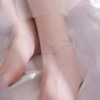 Anklets LISM Silver Color Double-Layer Love Heart Anklet Female Korean Temperament Wild Zircon Peach Ankle Chain Jewelry Gifts