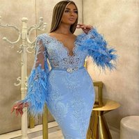 Luxury Blue Evening Dresses Feather Appliqued Lace Sexy Sheer Long Sleeves Mermaid Formal Party Wear Ankle-length Custom Made Prom Dress